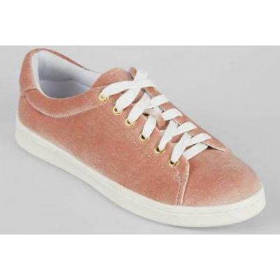 Teens Pink Velvet Trainers
