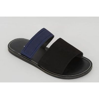 Black Contrast Elasticated Strap Sandals