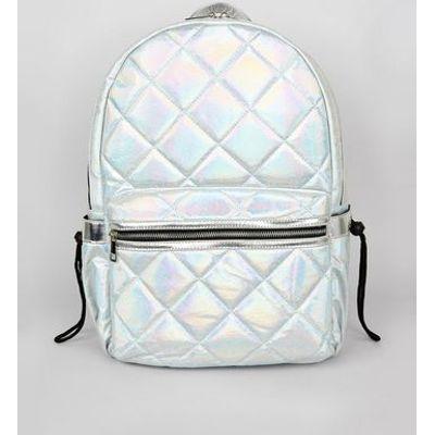Pale Blue Metallic Backpack