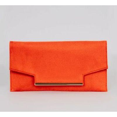 Orange Metal Trim Clutch Bag
