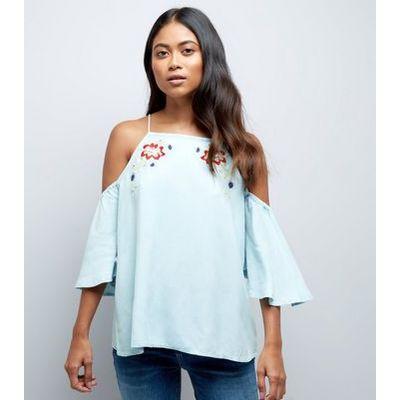 Petite Blue Embroidered Cold Shoulder Top