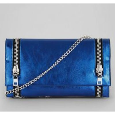 Metallic Blue Double Zip Foldover Clutch
