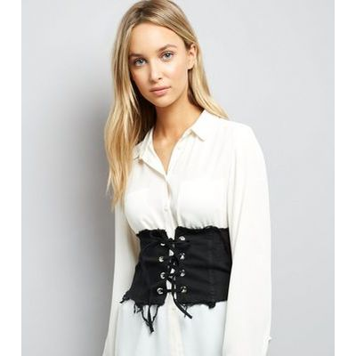 Cameo Rose Black Frayed Corset Belt