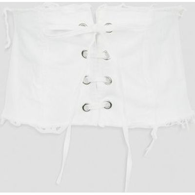 Cameo Rose White Frayed Corset Belt