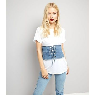 Cameo Rose Blue Denim Corset Belt