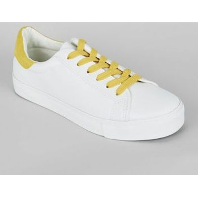 Yellow Contrast Lace Up Trainers