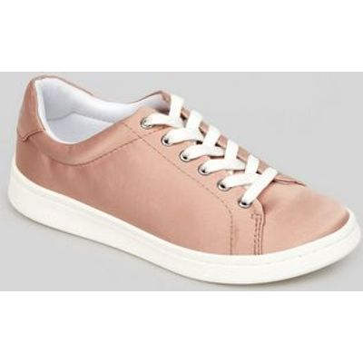 Teens Pink Satin Lace Up Trainers