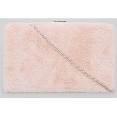 Pink Faux Fur Clutch Bag