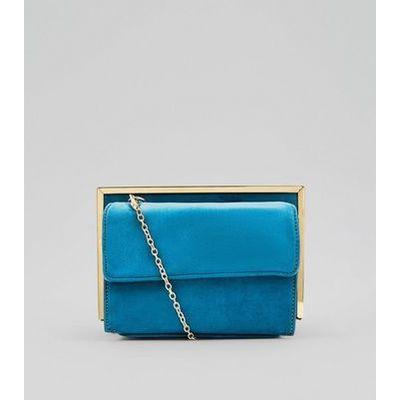 Blue Suedette Metallic Framed Shoulder Bag