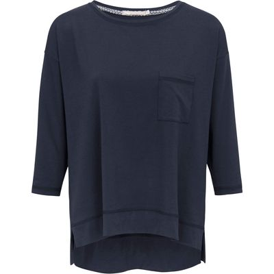 Round neck top 3/4-length sleeves Mey blue