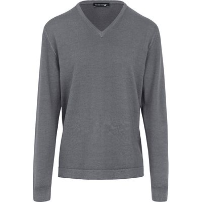 V-neck pullover in 100% new milled wool Louis Sayn grey
