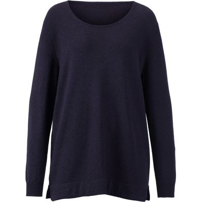 Round neck jumper in 100% cashmere Anna Aura blue