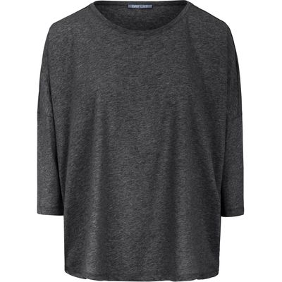 Round neck top 3/4-length sleeves DAY.LIKE grey