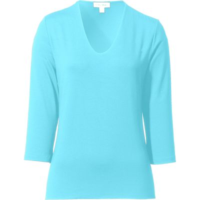V-neck top 3/4-length sleeves Peter Hahn turquoise