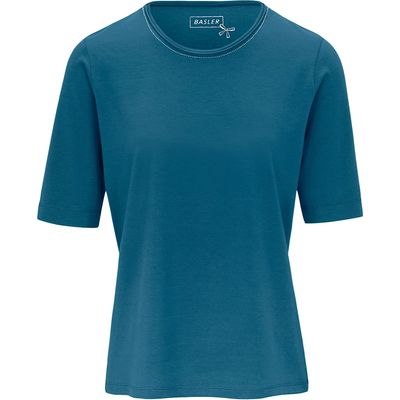 Round neck top 1/2-length sleeves Basler turquoise