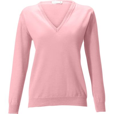 V-neck jumper in 100% new milled wool Peter Hahn pale pink