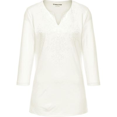 Top 3/4-length sleeves Green Cotton white