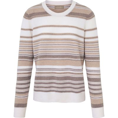 Round neck jumper include beige