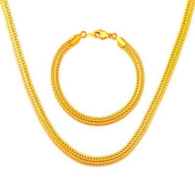 Simple Style 18K Gold Plated Trendy NecklaceBracelets 55CM Christmas Gift Chunky Chain Link Bracelet