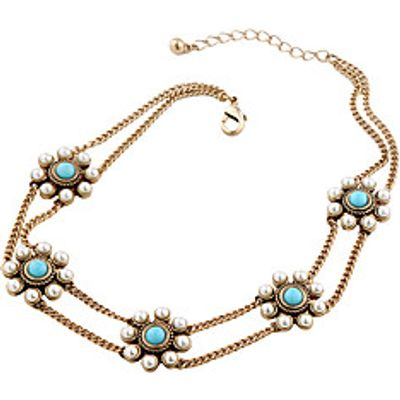 Women's Strands Necklaces Flower Chrome Unique Design Light Blue Jewelry For Gift Daily 1pc