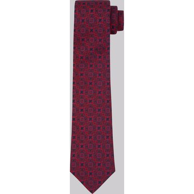 Moss 1851 Red Medallion Silk Tie