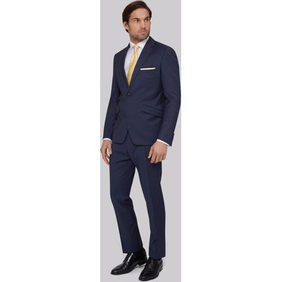 Moss Bros Skinny Fit Blue Twill Suit