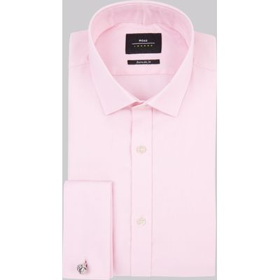 Moss London Premium Extra Slim Fit Pink Oxford Texture Shirt