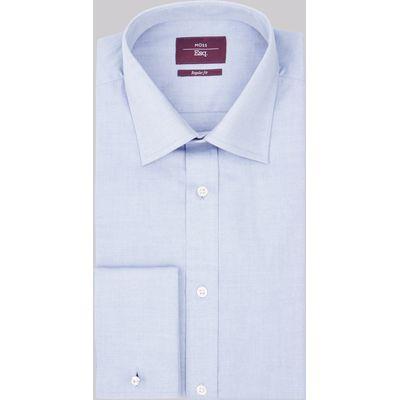 Moss Esq. Regular Fit Sky Double Cuff Oxford Non Iron Shirt