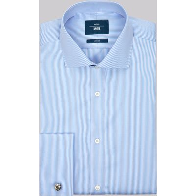 Moss 1851 Slim Fit Sky and Pink Double Cuff Stripe Shirt
