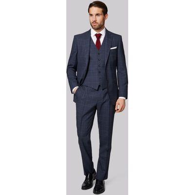 Savoy Taylors Guild Regular Fit Blue Check Jacket