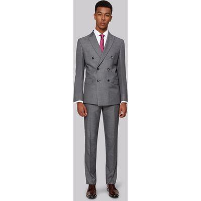 Moss London Skinny Fit Double Breasted Silver Sharkskin Jacket