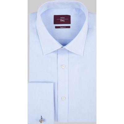 Moss Esq. Regular Fit Sky Double Cuff Textured Shirt