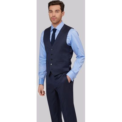 Lanificio F.lli Cerruti Dal 1881 Cloth Tailored Fit Indigo Semi Plain Waistcoat