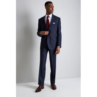 Moss Bros Regular Fit Blue Red Check Suit