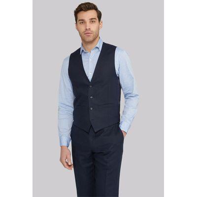 Moss 1851 Tailored Fit Navy Linen Waistcoat