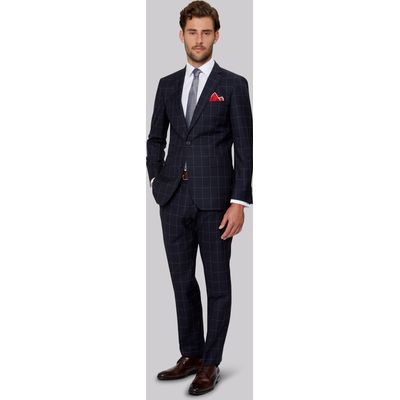 Moss 1851 Tailored Fit Navy Windowpane Suit