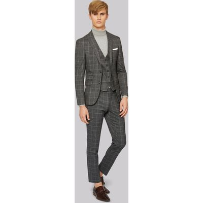 Moss London Skinny Fit Charcoal White Check Jacket
