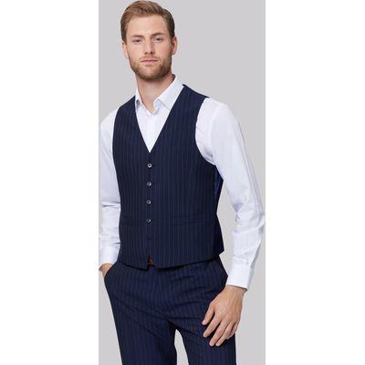 Moss Esquire Regular Fit Navy Stripe Waistcoat
