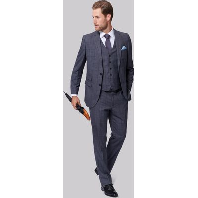 Moss Esquire Regular Fit Pale Blue Prince of Wales Check Jacket