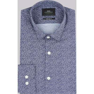 Moss London Extra Slim Fit Blue Splodge Print Casual Shirt