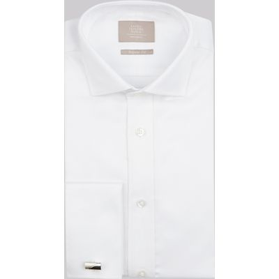 Savoy Taylors Guild Regular Fit White Double Cuff Diamond Texture Shirt