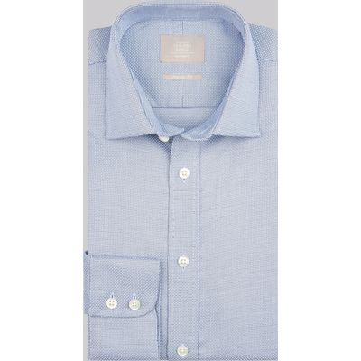 Savoy Taylors Guild Regular Fit Blue Single Cuff Basket Weave Shirt