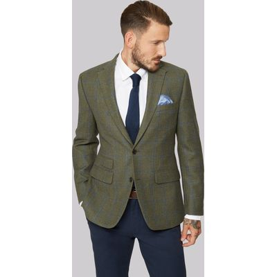 Moss 1851 Green with Blue Windowpane check Jacket