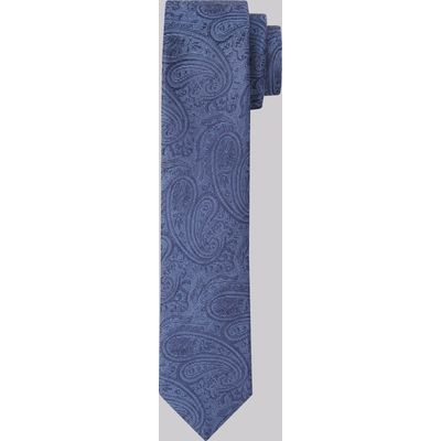 Moss London Premium Blue Paisley Silk Skinny Tie
