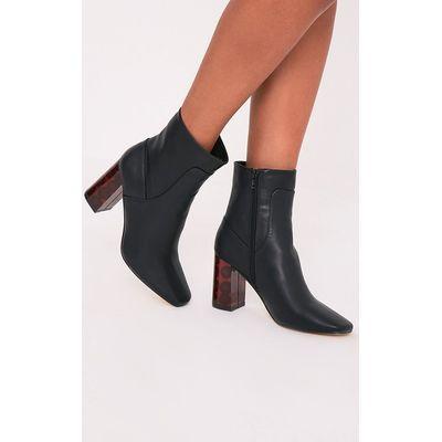 Tammi Black PU Tortoise Shell Heel Ankle Boots, Black