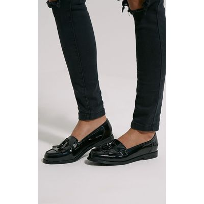 Trella Black Patent Loafers, Black