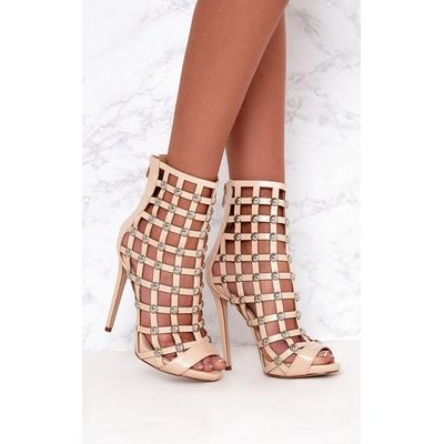 Nude Dome Studded Heeled Ankle Boots, Pink