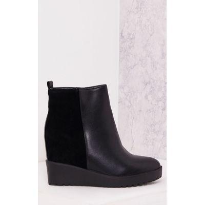 Jamiya Black Suede Heel Wedged Ankle Boots, Black