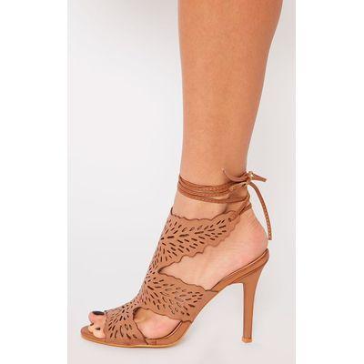Felicita Tan Leather Lazer Cut Tie Up Heeled Sandal, Brown