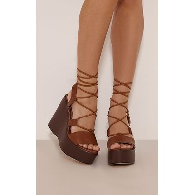 Payton Tan PU Lace Detail Wedges, Brown